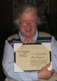 2007 Certificate Of Honor Awarded to Sue Tragesser